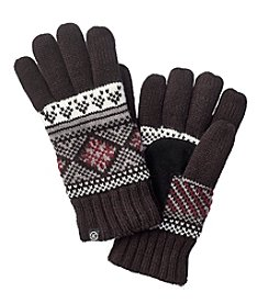 Isotoner® Signature Birdseye Diamond Fairisle Knit Gloves With Suede Palm Patch