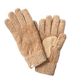 Isotoner® Signature Solid Chenille Gloves With Suede Palm Patch