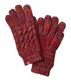 Isotoner® Signature Glimmer Marled Cable Knit Gloves With Suede Palm Patch