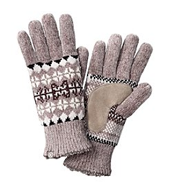 Isotoner® Signature Placed Fairisle Rayon Chenille Gloves With Suede Palm Patch