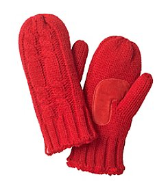 Isotoner® Signature Solid Chunky Double Cable Mittens With Palm Patch