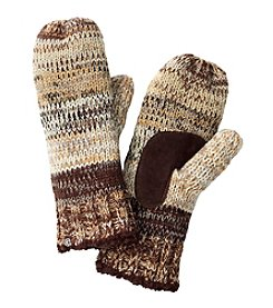 Isotoner Signature Multi Marled Striped Mittens With Suede Palm Patch®