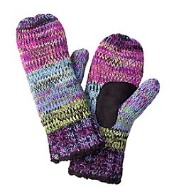 Isotoner® Signature Multi Marled Striped Mittens With Suede Palm Patch