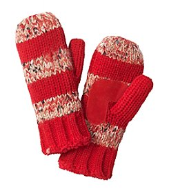 Isotoner® Signature Novelty Sequin Knit Mittens With Suede Palm Patch