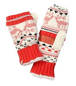 Isotoner Signature® Kissing Moose Fair Isle Flip Top Mittens With Suede Palm Patch