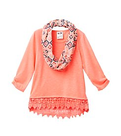 Belle du Jour Girls' 7-16 Lace Trim Sweater Top With Scarf