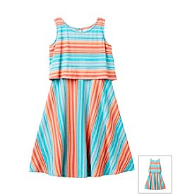 DKNY® Girls' 7-16 Striped Mix Dress