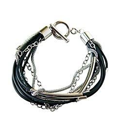 Stainless Steel Black Rubber & Mesh Bracelet