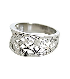 Stainless Steel Filigree Heart Design Ring