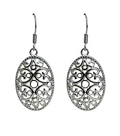 Stainless Steel Oval Filigree Drop Earrings