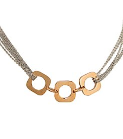 Stainless Steel Rose Goldtone Squares Multi Chain Necklace