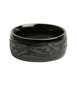 Stainless Steel Black Tribal Band