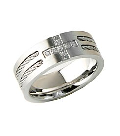 Stainless Steel CZ Cross & Wire Band
