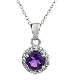 Sterling Silver Round Shaped Amethyst Pendant with White Topaz Accent