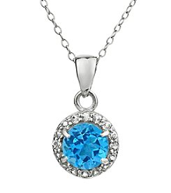 Sterling Silver Round Shaped Blue Topaz Pendant with White Topaz Accent