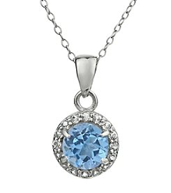 Sterling Silver Round Shaped Created Aquamarine Pendant with White Topaz Accent
