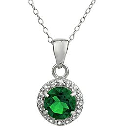 Sterling Silver Round Shaped Created Emerald Pendant with White Topaz Accent