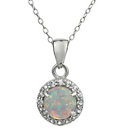 Sterling Silver Round Shaped Created Opal Pendant with White Topaz Accent
