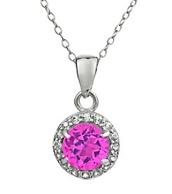 Sterling Silver Round Shaped Created Pink Sapphire Pendant with White Topaz Accent