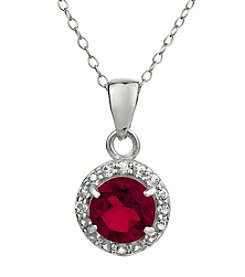 Sterling Silver Round Shaped Created Ruby Pendant with White Topaz Accent