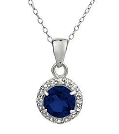 Sterling Silver Round Shaped Created Sapphire Pendant with White Topaz Accent