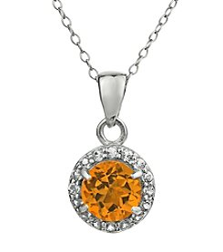 Sterling Silver Round Shaped Citrine Pendant with White Topaz Accent