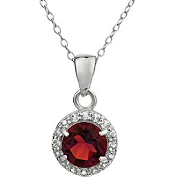 Sterling Silver Round Shaped Garnet Pendant with White Topaz Accent