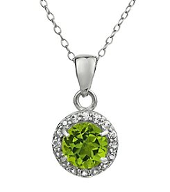 Sterling Silver Round Shaped Peridot Pendant with White Topaz Accent
