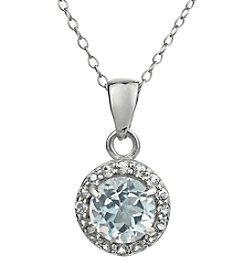 Sterling Silver Round Shaped White Topaz Pendant