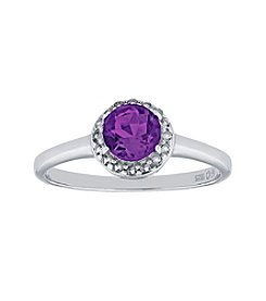 Sterling Silver Round Shaped Amethyst Ring with White Topaz Accent