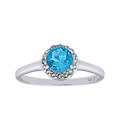 Sterling Silver Round Shaped Blue Topaz Ring with White Topaz Accent