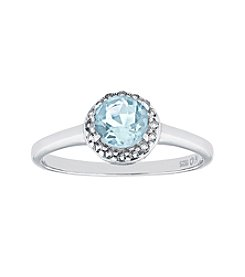 Sterling Silver Round Shaped Created Aquamarine Ring with White Topaz Accent