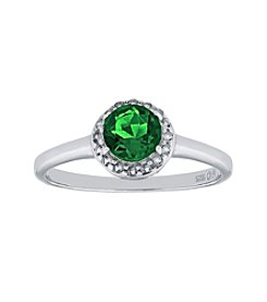 Sterling Silver Round Shaped Created Emerald Ring with White Topaz Accent