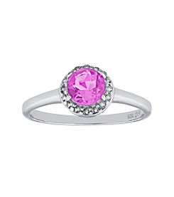 Sterling Silver Round Shaped Created Pink Sapphire Ring with White Topaz Accent