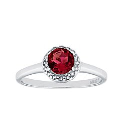 Sterling Silver Round Shaped Created Ruby Ring with White Topaz Accent