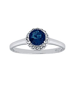 Sterling Silver Round Shaped Created Sapphire Ring with White Topaz Accent