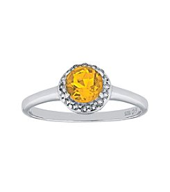 Sterling Silver Round Shaped Citrine Ring with White Topaz Accent