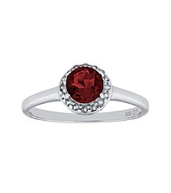 Sterling Silver Round Shaped Garnet Ring with White Topaz Accent
