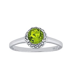 Sterling Silver Round Shaped Peridot Ring with White Topaz Accent