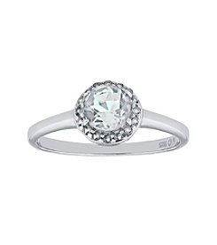 Sterling Silver Round Shaped White Topaz Ring