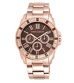 Vince Camuto™ Women's Oversized Rose Goldtone Baguette Crystal Watch