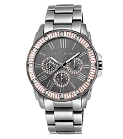 Vince Camuto™ Women's Oversized Gun Metal Baguette Crystal Watch