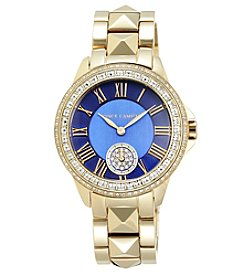 Vince Camuto™ Women's Goldtone Pyramid Bracelet Watch with Navy Blue Dial