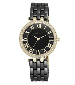 Anne Klein® Black Ceramic Link Bracelet Watch with Crystal Bezel