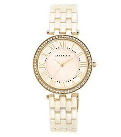 Anne Klein® Ivory Ceramic Link Bracelet Watch with Crystal Bezel