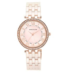 Anne Klein® Blush Ceramic Link Bracelet Watch with Crystal Bezel
