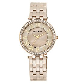 Anne Klein® Tan Ceramic Link Bracelet Watch with Crystal Bezel
