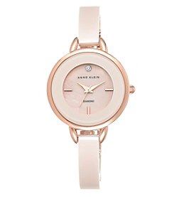Anne Klein® Blush Ceramic Diamond Dial Bangle Watch