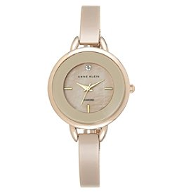 Anne Klein® Tan Ceramic Diamond Dial Bangle Watch