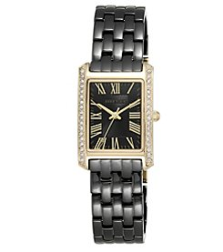 Anne Klein® Rectangular Black Ceramic Bracelet Watch